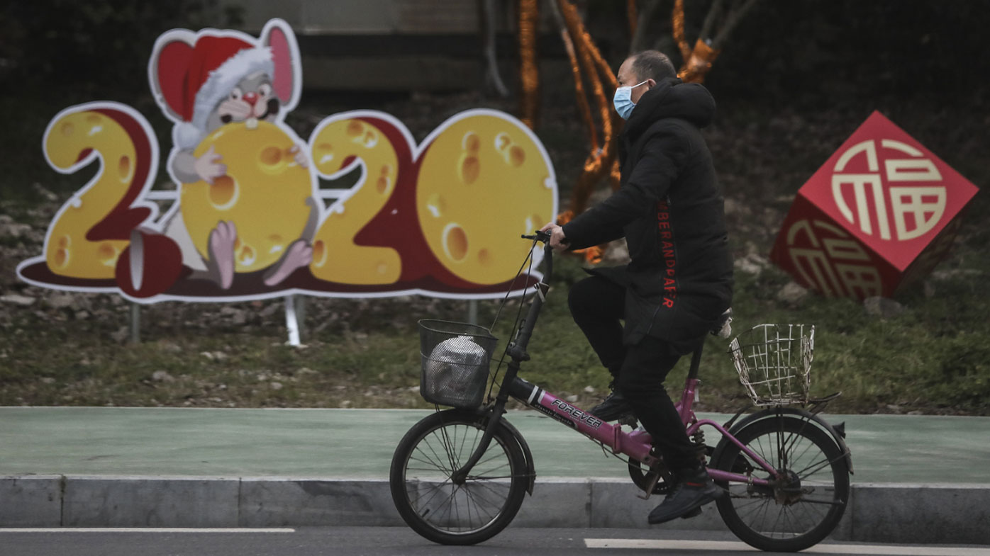 A man on a deserted street in the coronavirus epicentre of Wuhan, in the Hubei province in China.