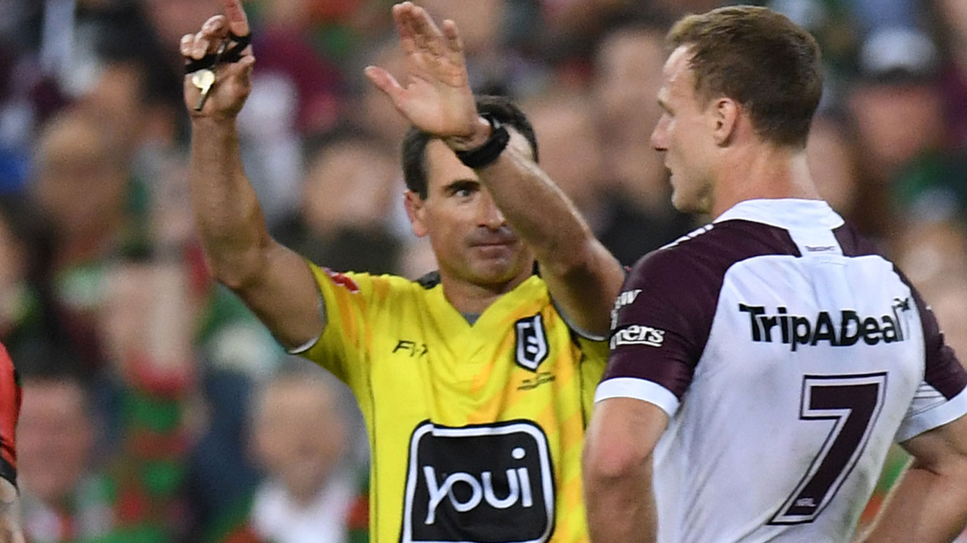 Daly Cherry-Evans looks on as Gerard Sutton sends Jake Trbojevic to the sin bin.