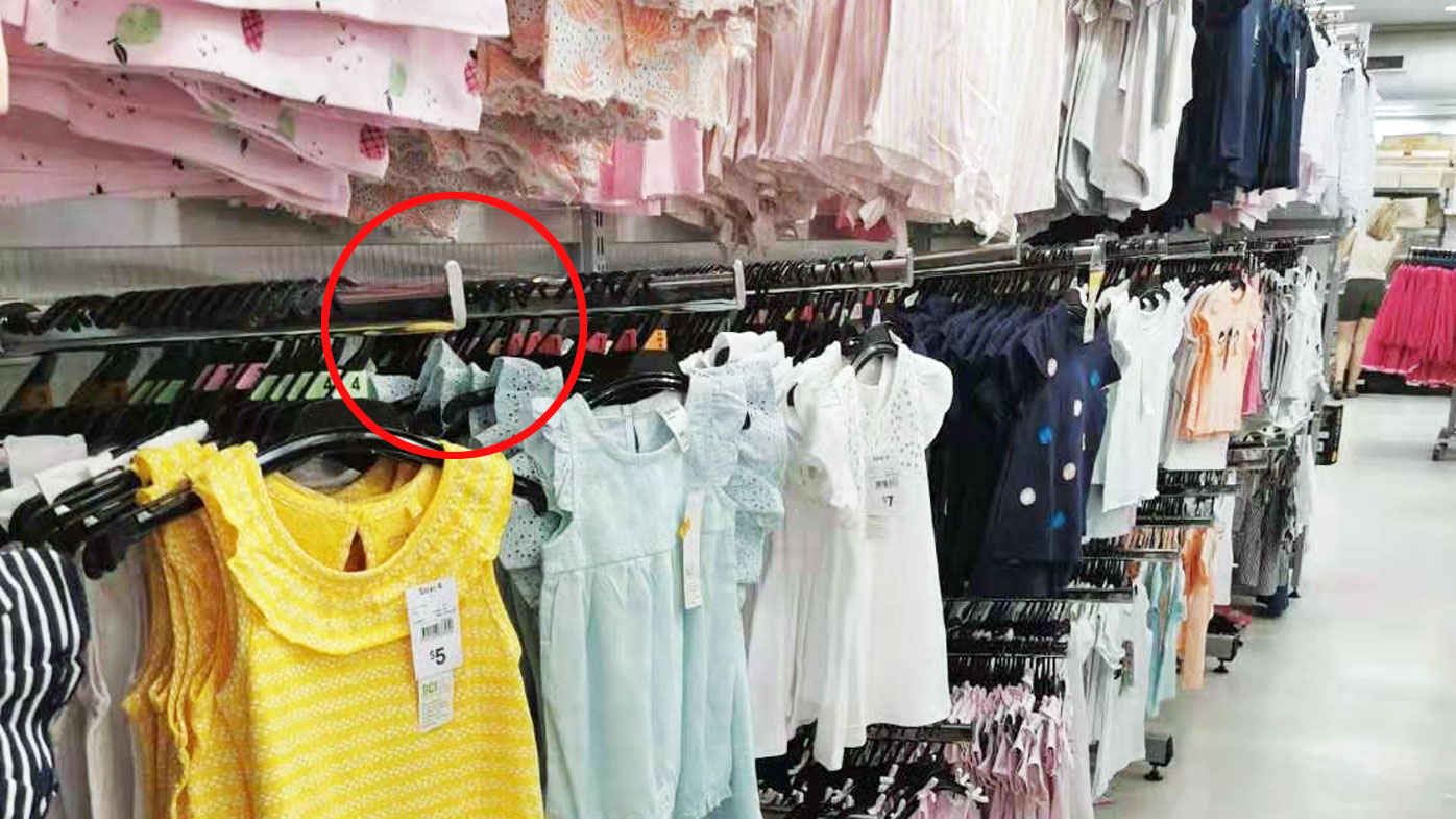 The same type of hook which caused Cecilia's injuries, pictured at Kmart's Chatswood store.