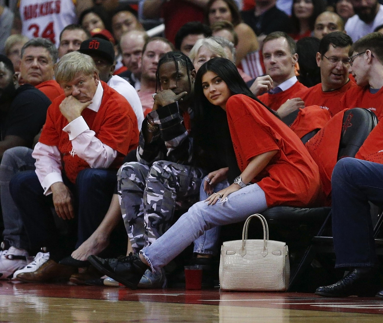 Kylie Jenner, Travis Scott, watching basketball, NBA, game, courtside