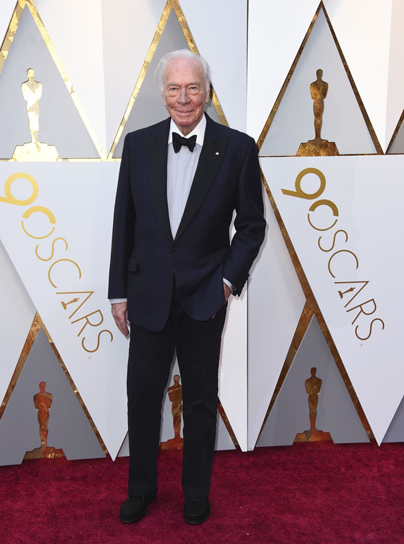 Christopher Plummer arrives at the Oscars on Sunday, March 4, 2018, at the Dolby Theatre in Los Angeles
