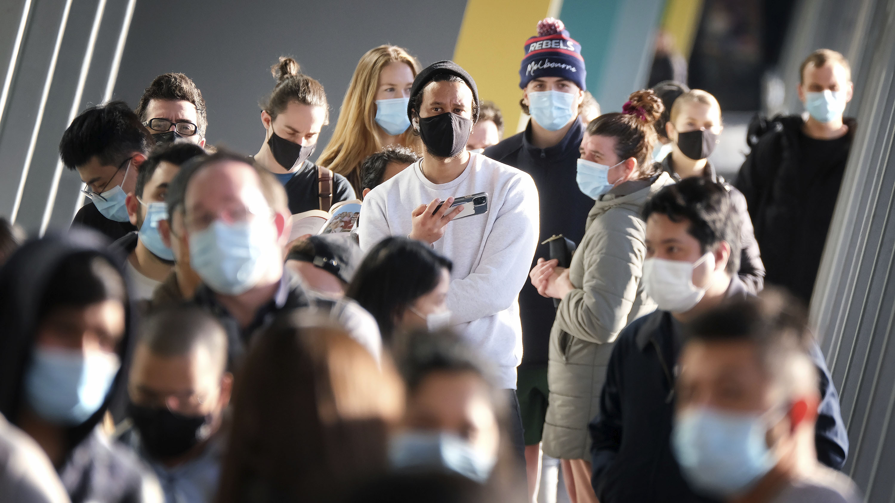 People line up to be vaccinated at the Melbourne Convention and Exhibition Centre.