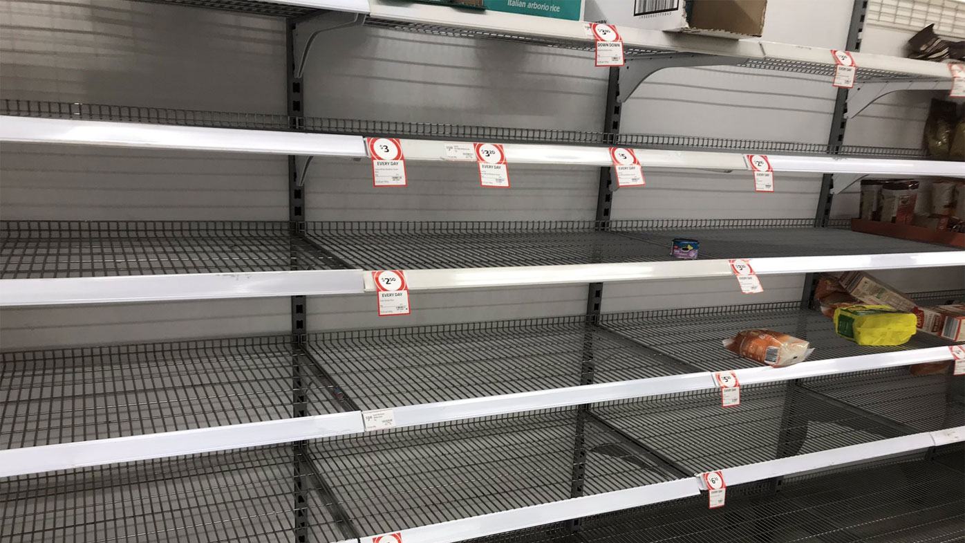 Coles at Chatswood ran over out rice on the weekend as customers stocked up.
