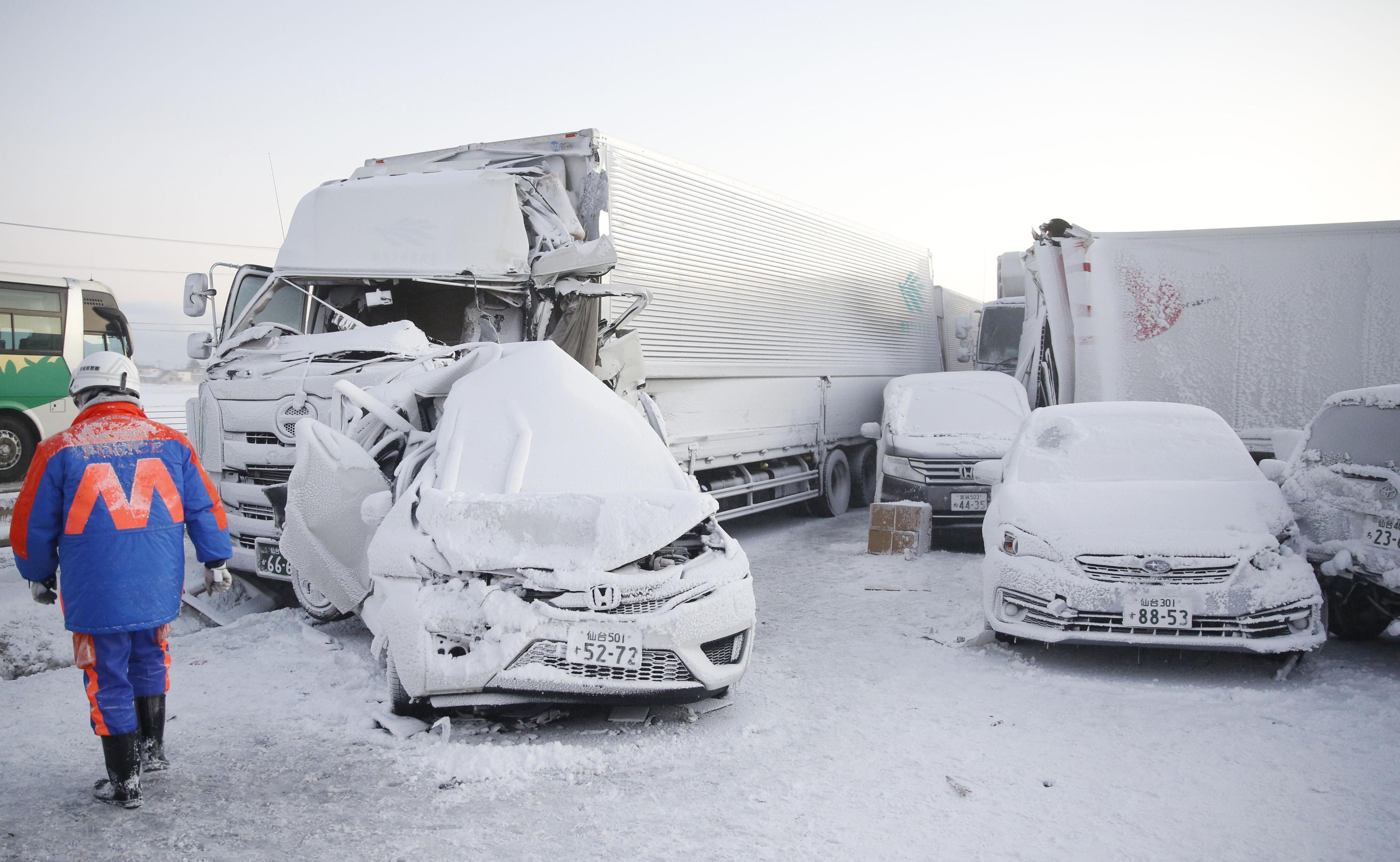 Japan Miyagi prefecture snow storm pile-up