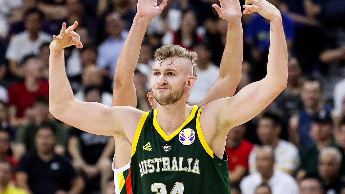 Jock Landale of Australia celebrates a point during the 2019 FIBA World Cup,