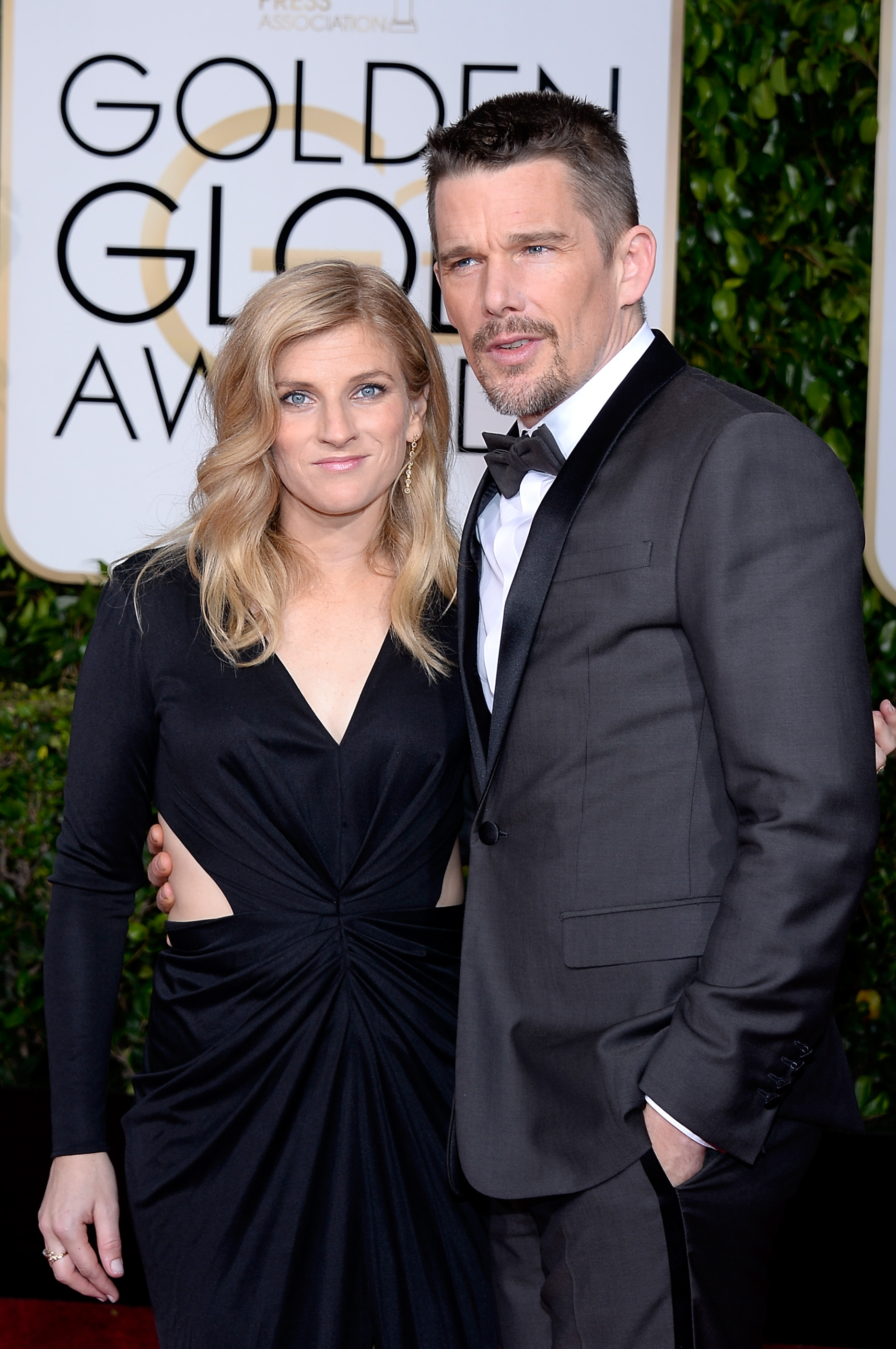 Ethan Hawke and Ryan Shawhughes arrive to the 72nd Annual Golden Globe Awards held at the Beverly Hilton Hotel on January 11, 2015.