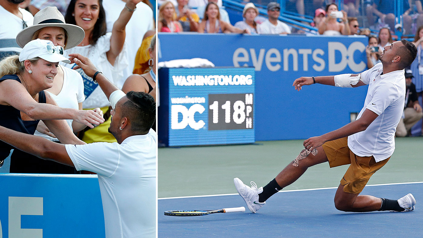 Nick Kyrgios thanks a fan for her advice on where to serve on match point after winning the Washington Open
