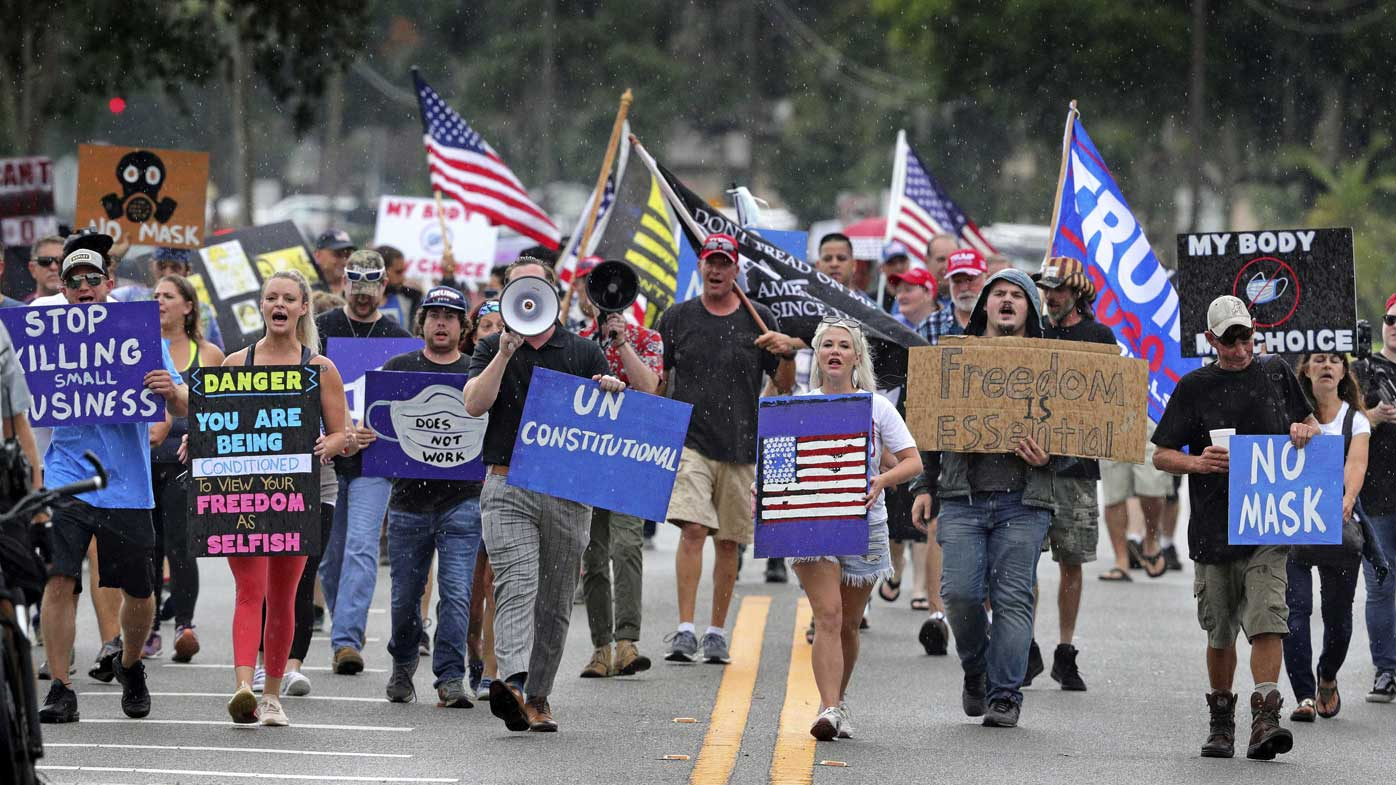 Protesters in Sanford, Florida demonstrating against a rule mandating the wearing of masks.