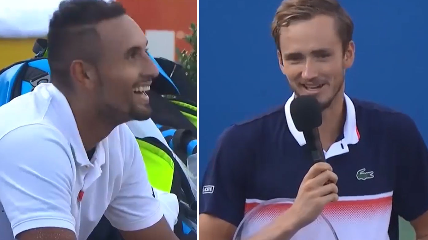 Kyrgios laughs off a cheeky crack by Medvedev