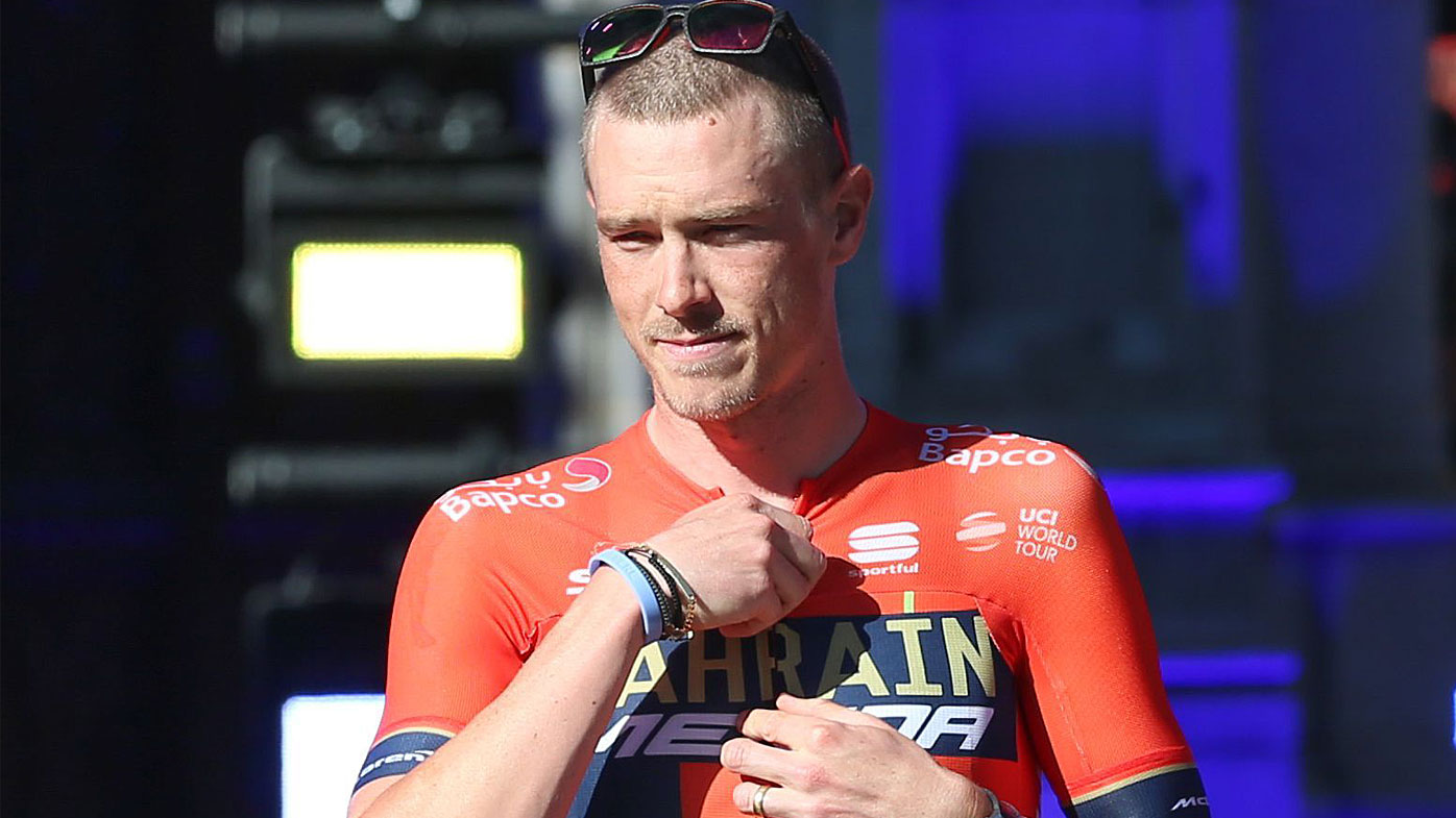 Team BAHRAIN MERIDA at the start of the 106th Tour de France with Rohan Dennis