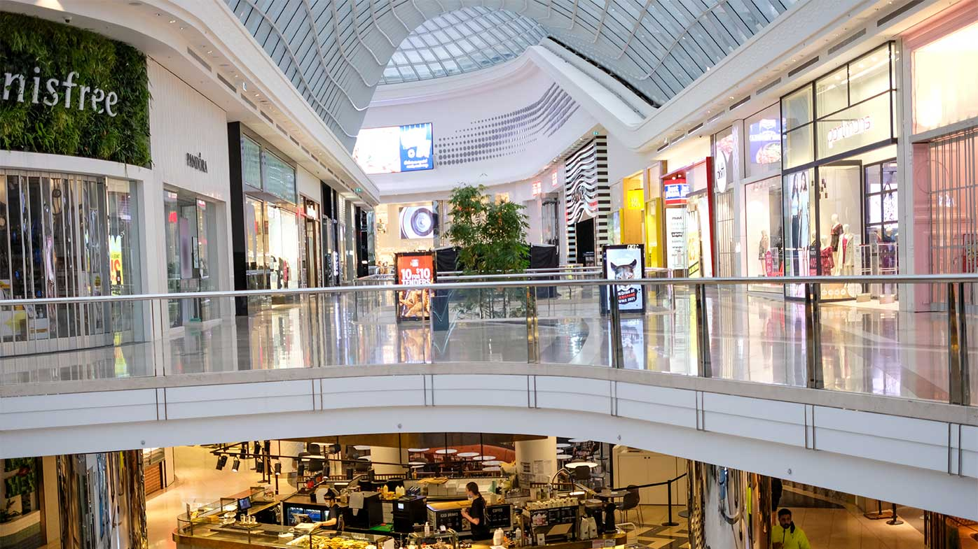 An empty Chadstone shopping centre on Victoria's first day of lockdown.