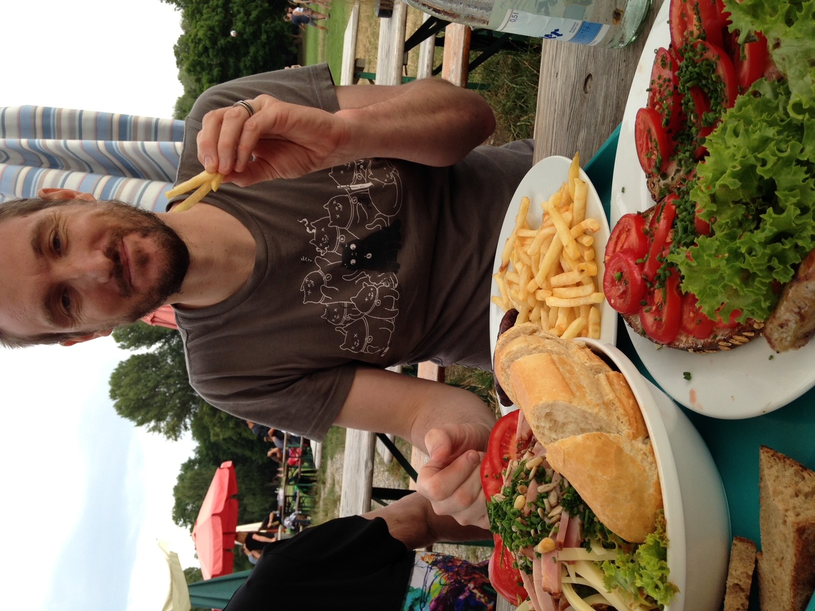 Leigh on one of his few outings in Germany after suffering a chronic pain episode on a family holiday.
