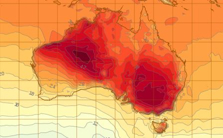 Weather map shows large patches of extreme heat over multiple states including WA, Vic, NSW, and ACT.