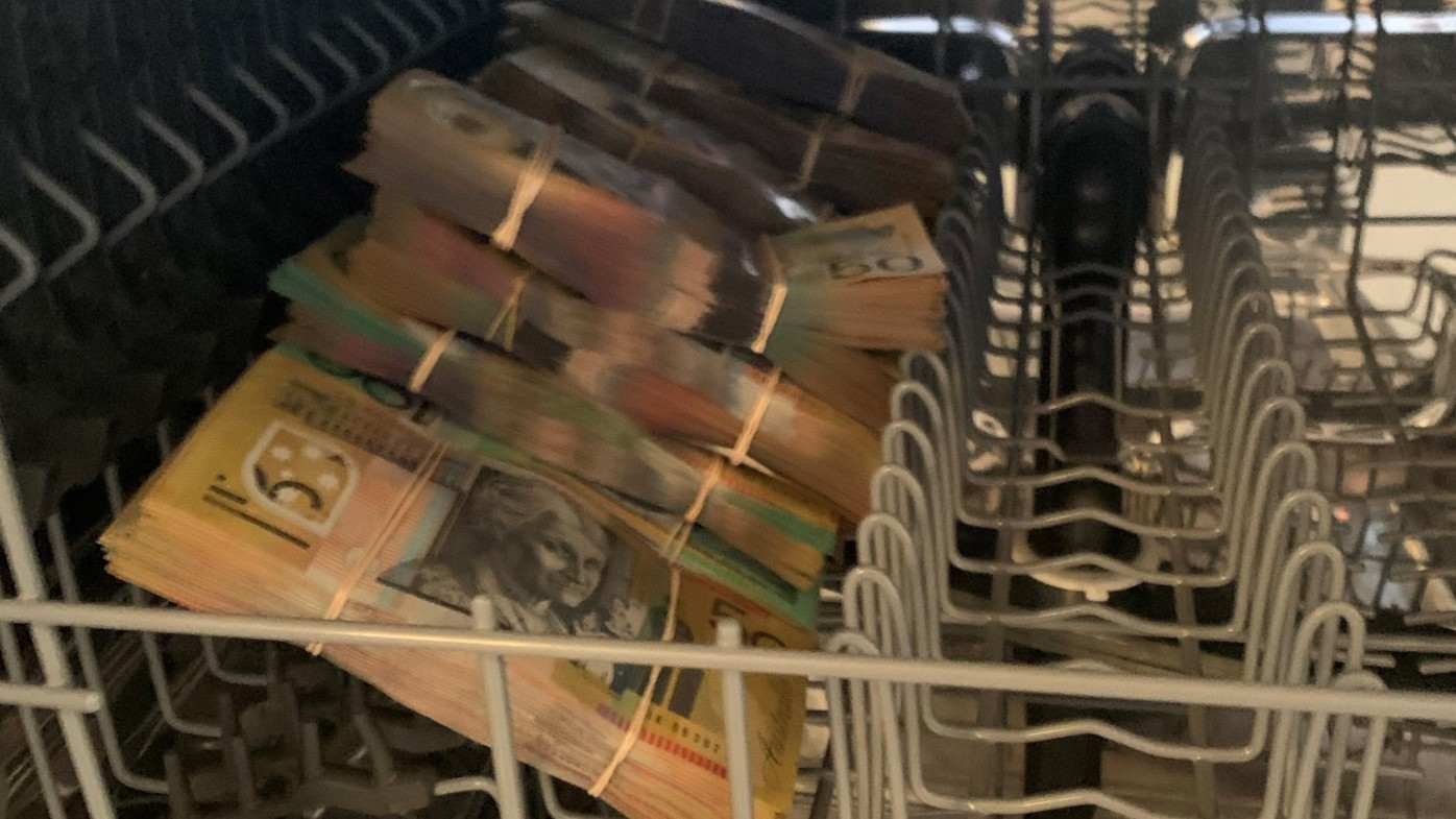 Police have seized $250,000 in cash found in a Blacktown dishwasher.