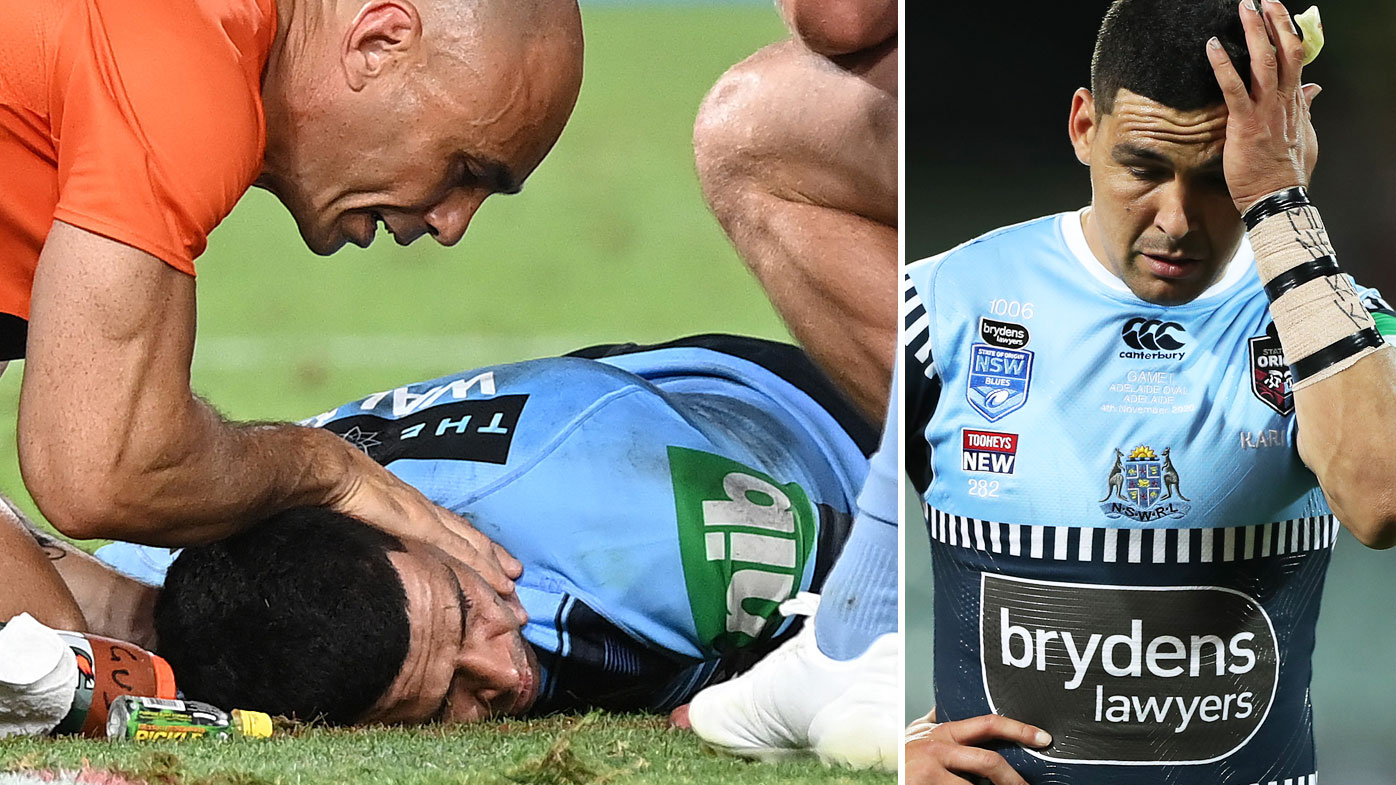There was concern around Suncorp Stadium when Cody Walker went down in a horror head knock during Origin III. (Getty)