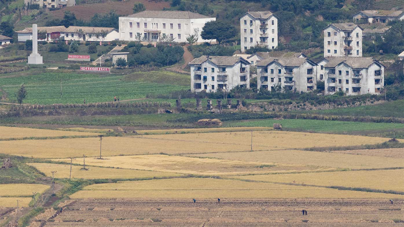 North Korean workers in the fields as seen from over the border.