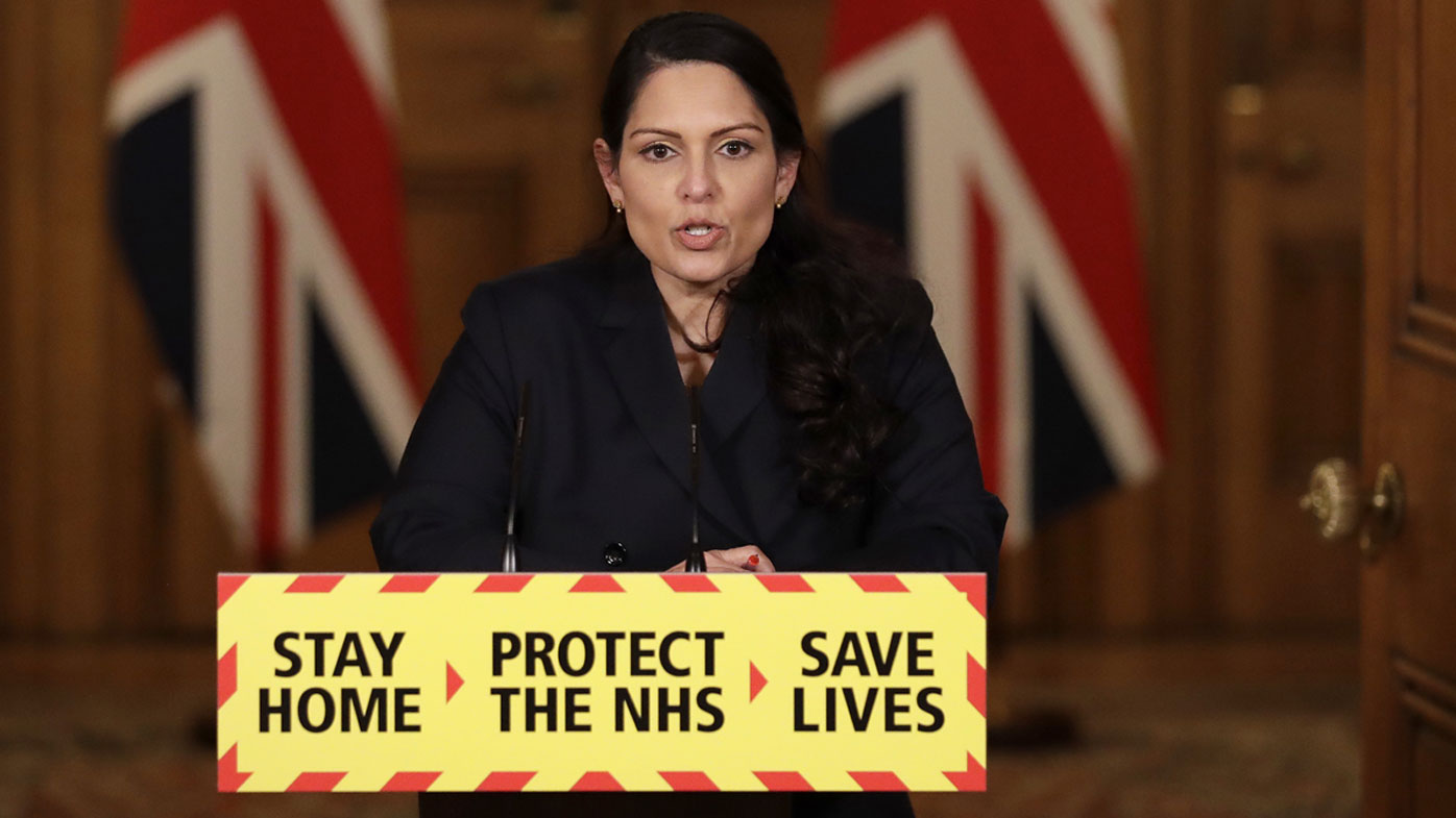 Britain's Home Secretary Priti Patel speaks during a media briefing on the COVID-19 pandemic in Downing Street, London, Thursday, Jan. 21, 2021