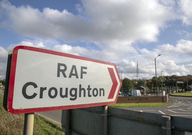 The entrance to RAF Croughton, in Northamptonshire, near where Harry Dunn, 19, died when his motorbike was involved in a head-on collision in August. Anne Sacoolas, the motorist allegedly responsible for the crash, was given diplomatic immunity and allowed to flee to the US.