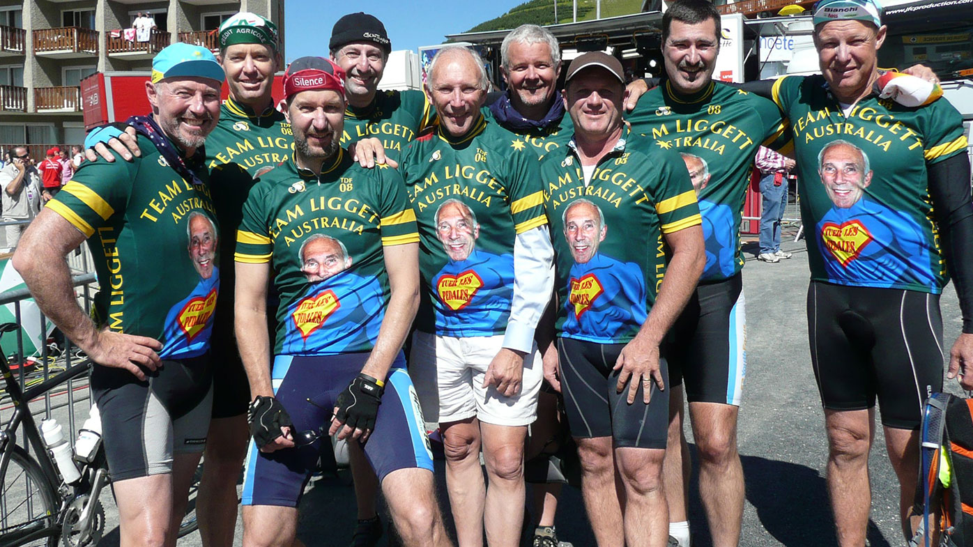 Phil Liggett with his Australian fans.