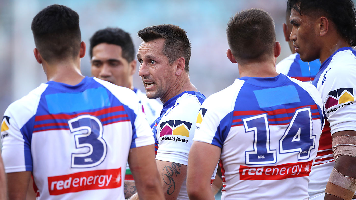 Mitchell Pearce of the Knights speaks to his players during the NRL Elimination Final.