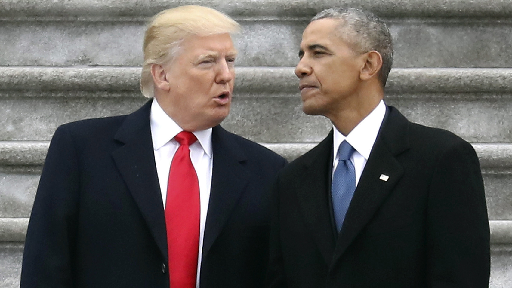 New President Donald Trump talks with former President Barack Obama on Capitol Hill as the reigns were handed over on January 20, 2017.