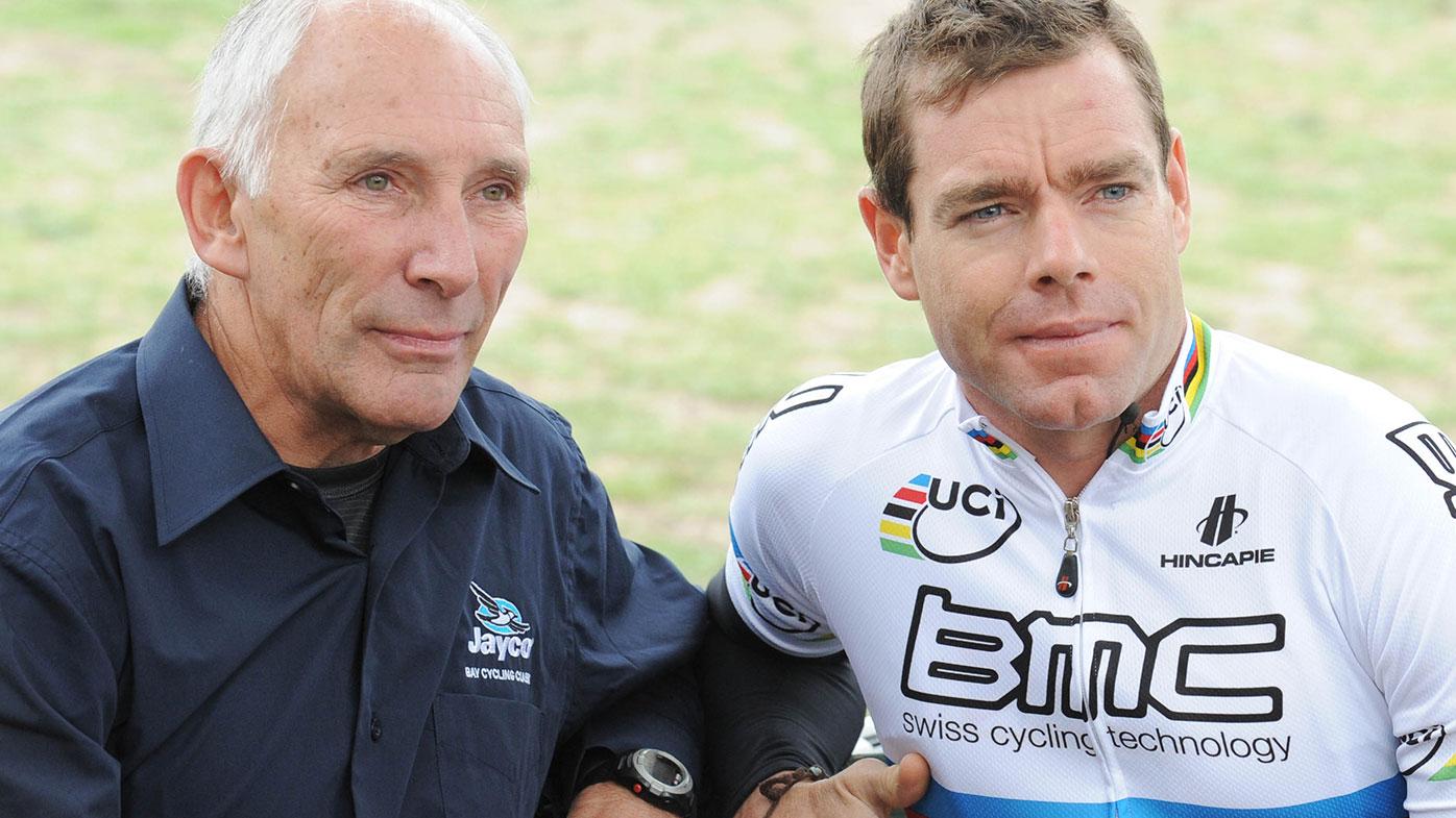 Legendary commentator Phil Liggett with Australia's Tour de France champion Cadel Evans.