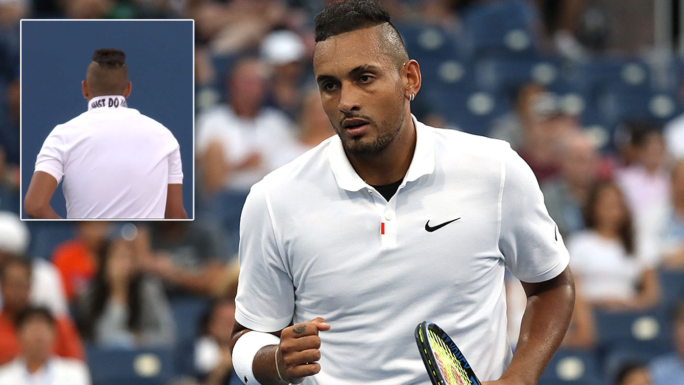 Nick Kyrgios popped his collar to reveal a hidden message