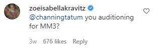 Channing Tatum and Zoë Kravitz exchange flirty Instagram messages.