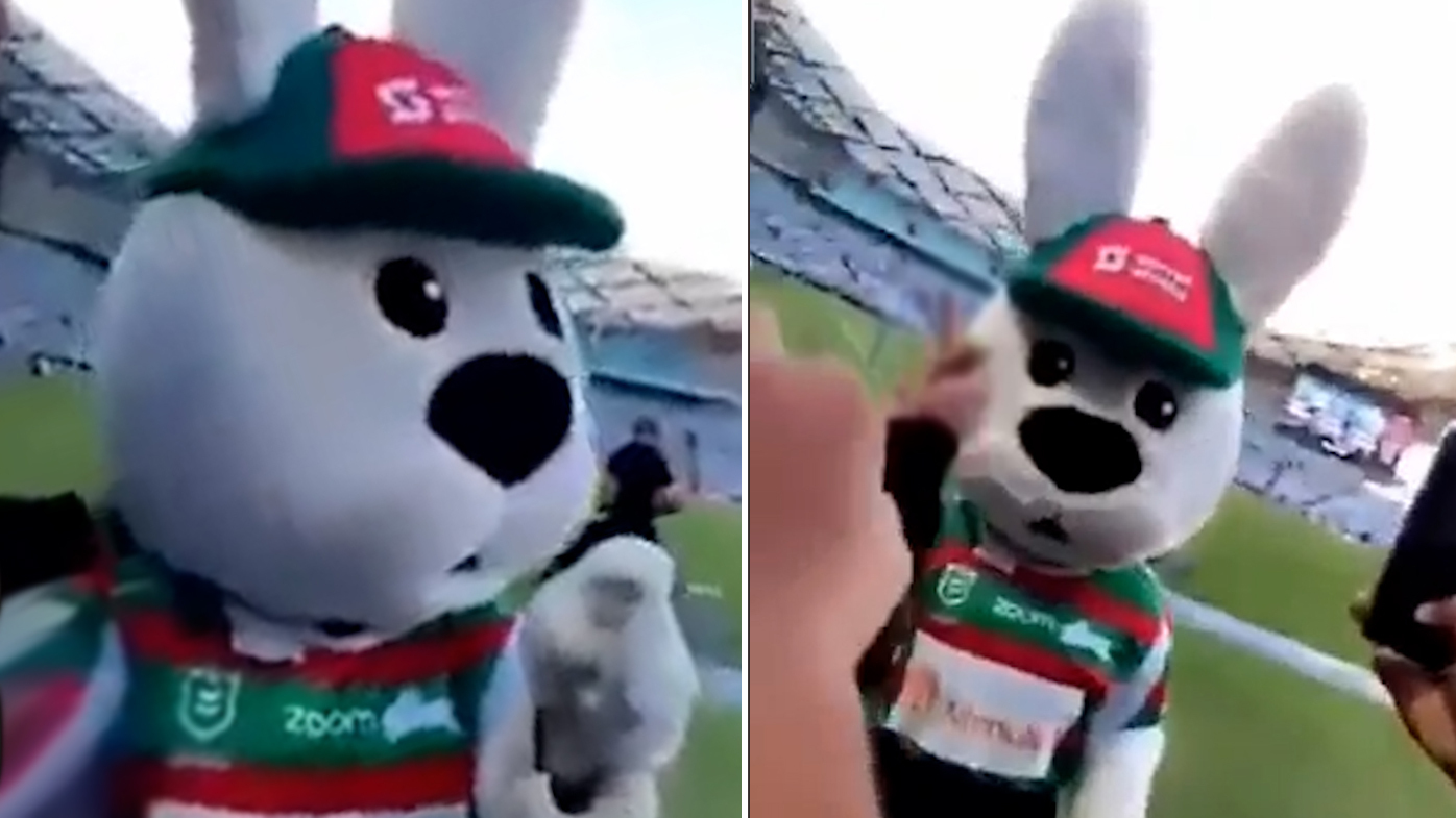 Reggie the Rabbit being attacked by fans.