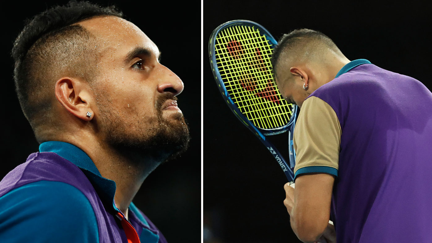 Nick Kyrgios of Australia reacts in his Men's Singles third round match against Dominic Thiem of Austria during day five of the 2021 Australian Open at Melbourne Park on February 12, 2021 in Melbourne, Australia.