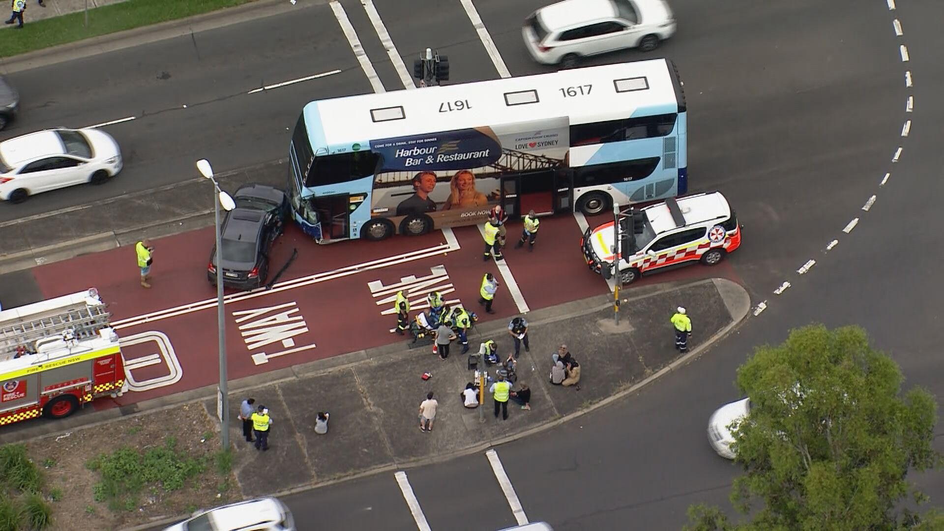 Six injured after double-decker bus crash in western Sydney