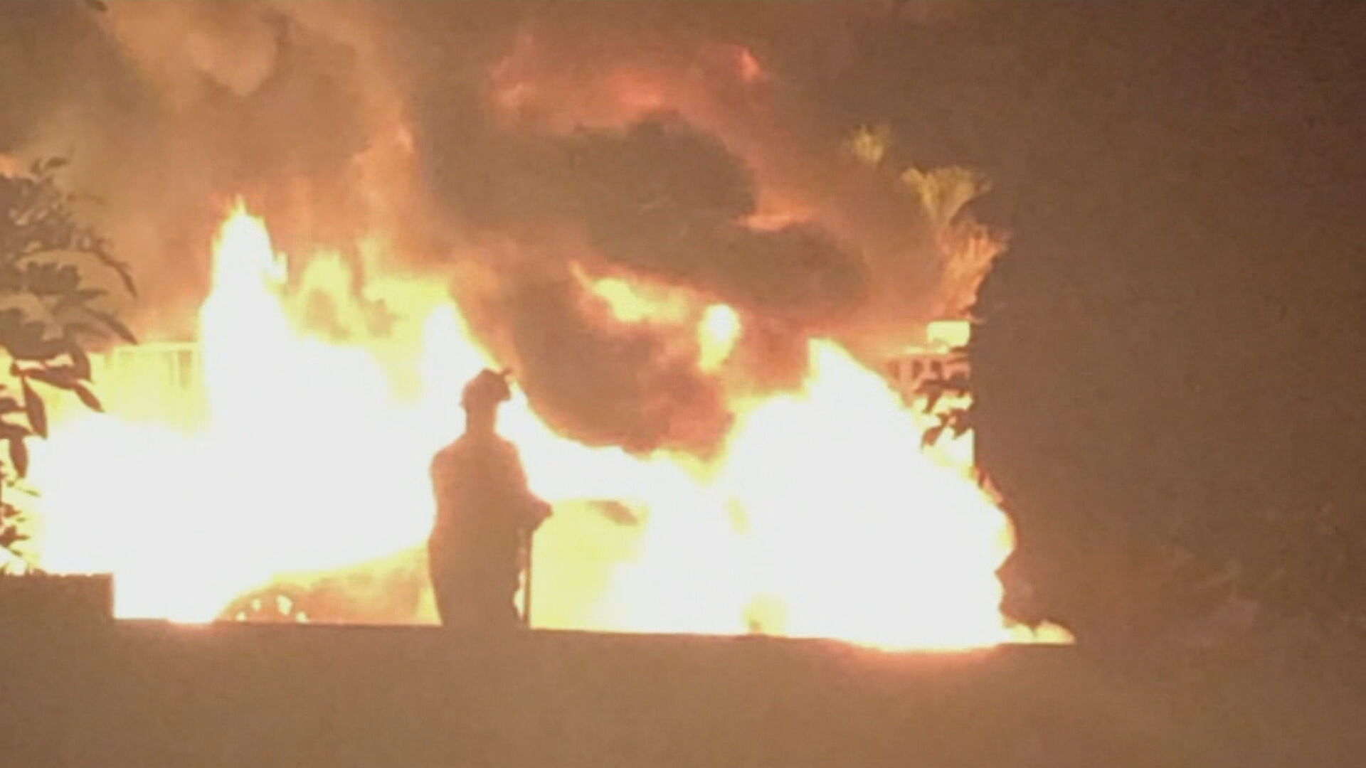 The inferno that engulfed the vehicle.