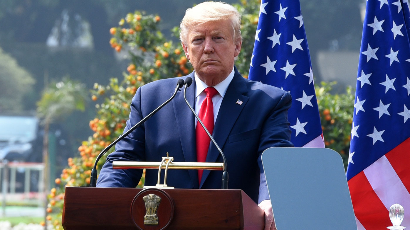 President Donald Trump speaks during his joint statement with Prime Minister Narendra Modi, at Hyderabad House, on February 25, 2020 in New Delhi, India