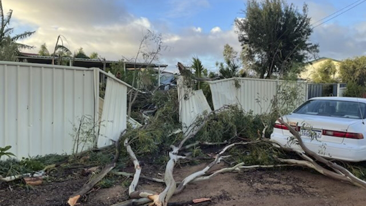 Damaged fences in Kalbarri after Tropical Cyclone Seroja swept through.