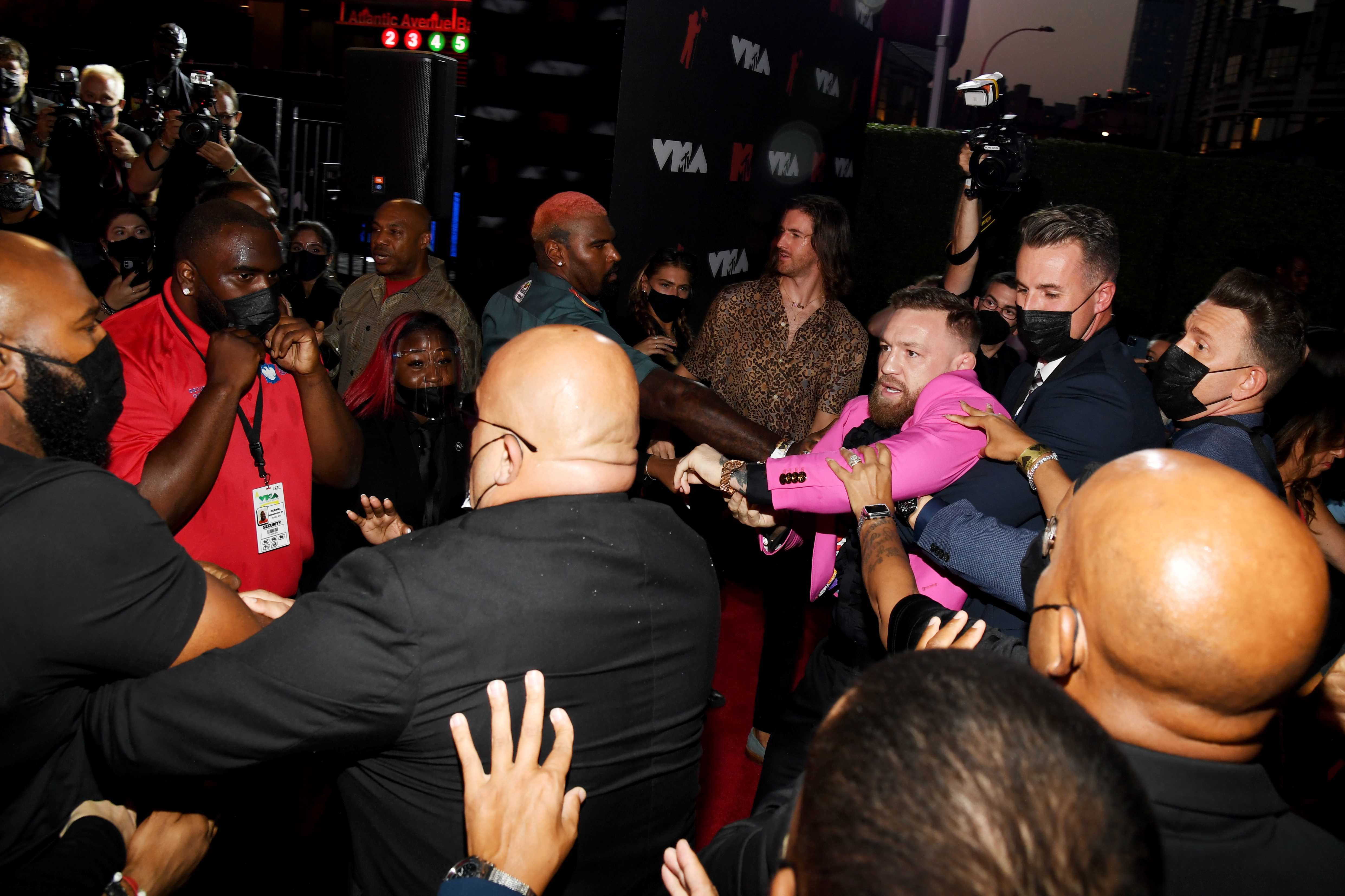 Conor McGregor and Machine Gun Kelly attend the 2021 MTV Video Music Awards at Barclays Center on September 12, 2021 in the Brooklyn borough of New York City.