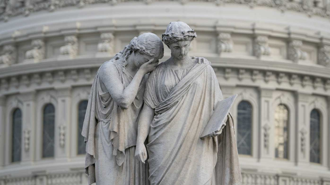 A sculpture outside Congress, as the Senate mulls whether to impeach Donald Trump.