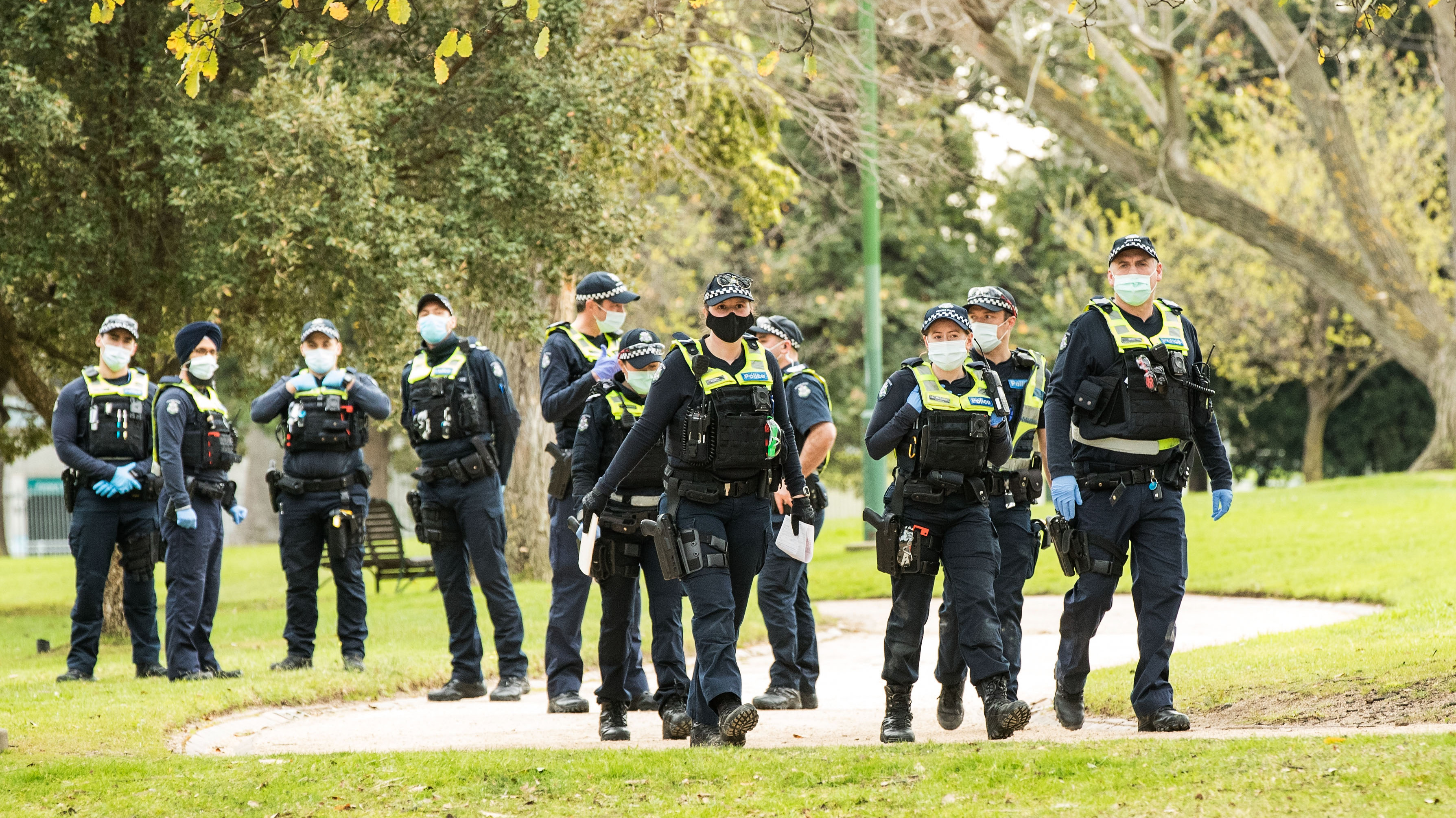A heavy Police presence is seen at Government House on August 31, 2021 in Melbourne.