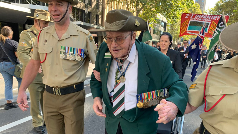 World War 2 Vet 104 year Alf Carpenter marching down Elizabeth St Sydney on Anzac Day, 2021