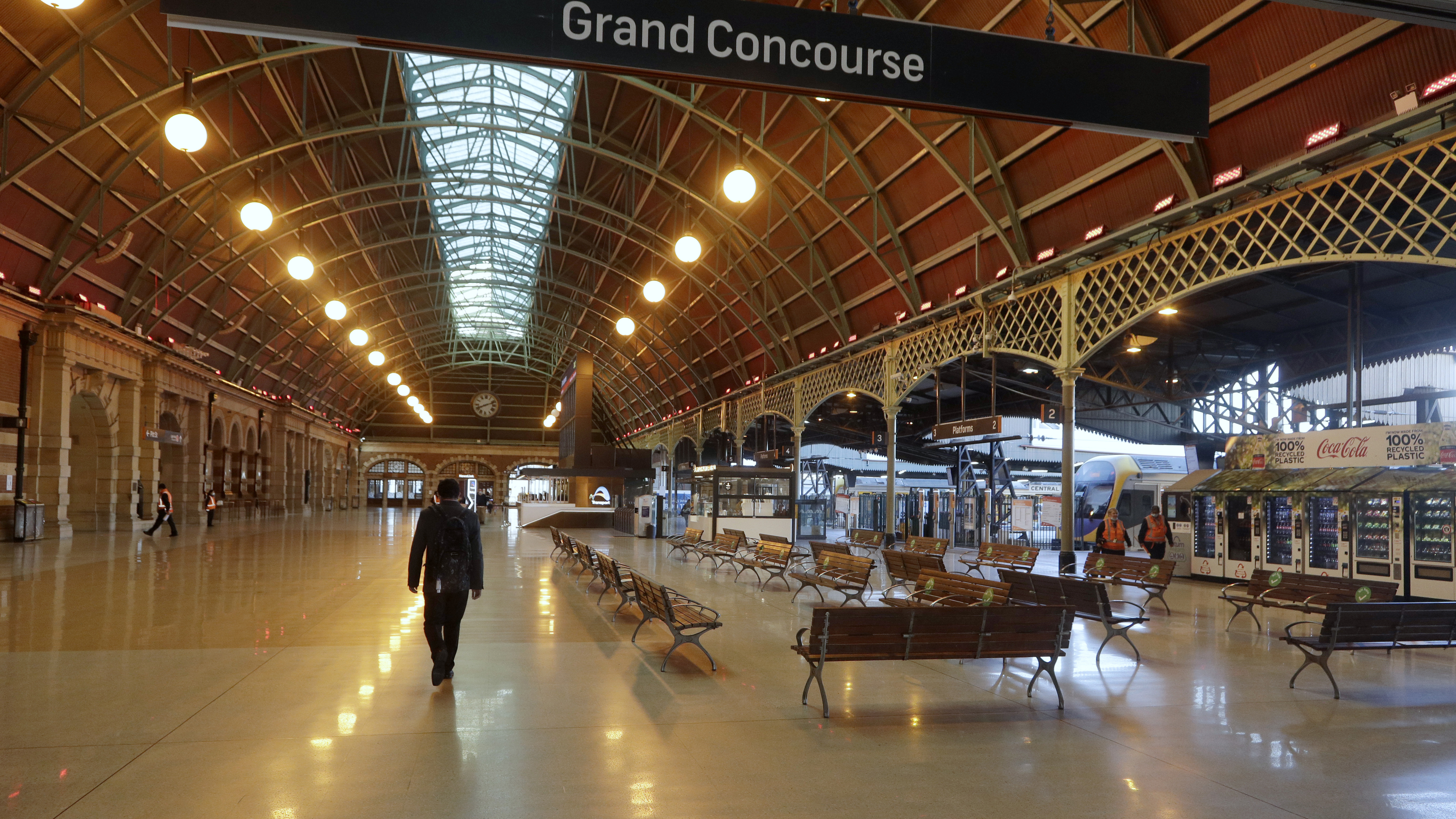 Central Station in Sydney, is near empty on Aug. 13, 2021 as greater Sydney continues a weeks-long COVID-19 lockdown.