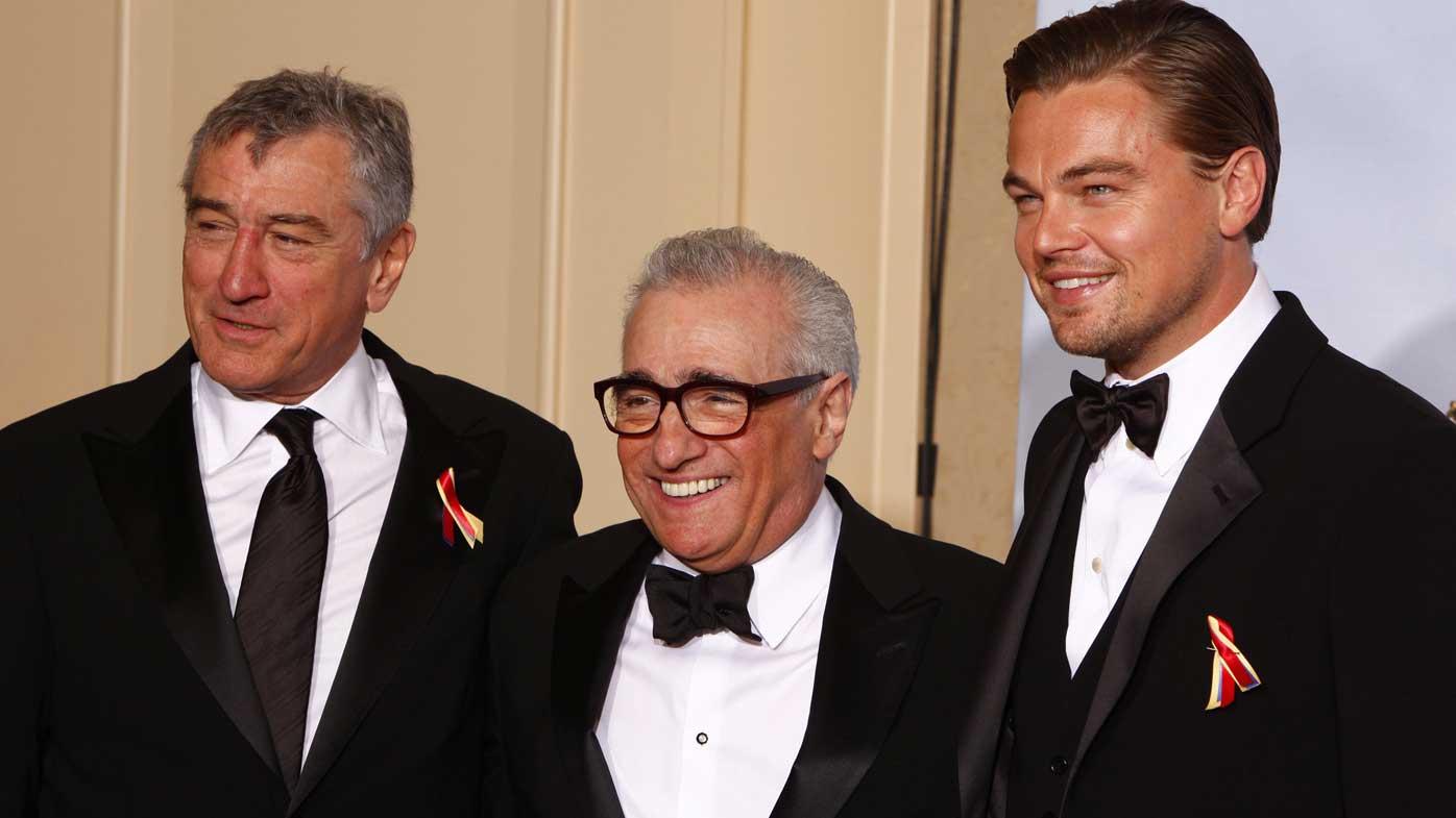 Martin Scorsese, Robert De Niro and Leonardo DiCaprio at Golden Globes in 2010.
