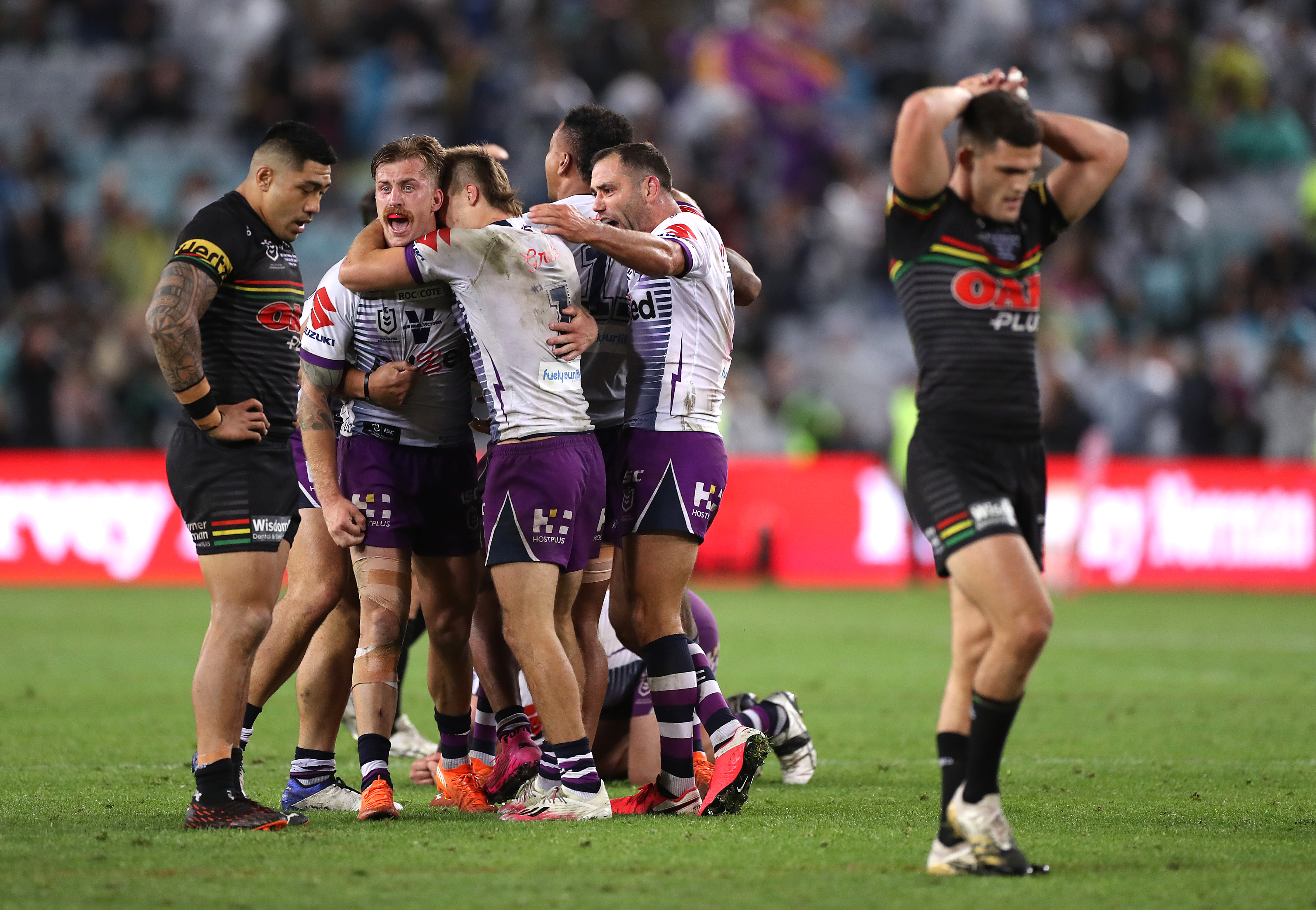 SYDNEY, AUSTRALIA - OCTOBER 25: Cameron Smith of the Storm celebrates victory during the 2020 NRL Grand Final match between the Penrith Panthers and the Melbourne Storm at ANZ Stadium on October 25, 2020 in Sydney, Australia. (Photo by Mark Kolbe/Getty Images)