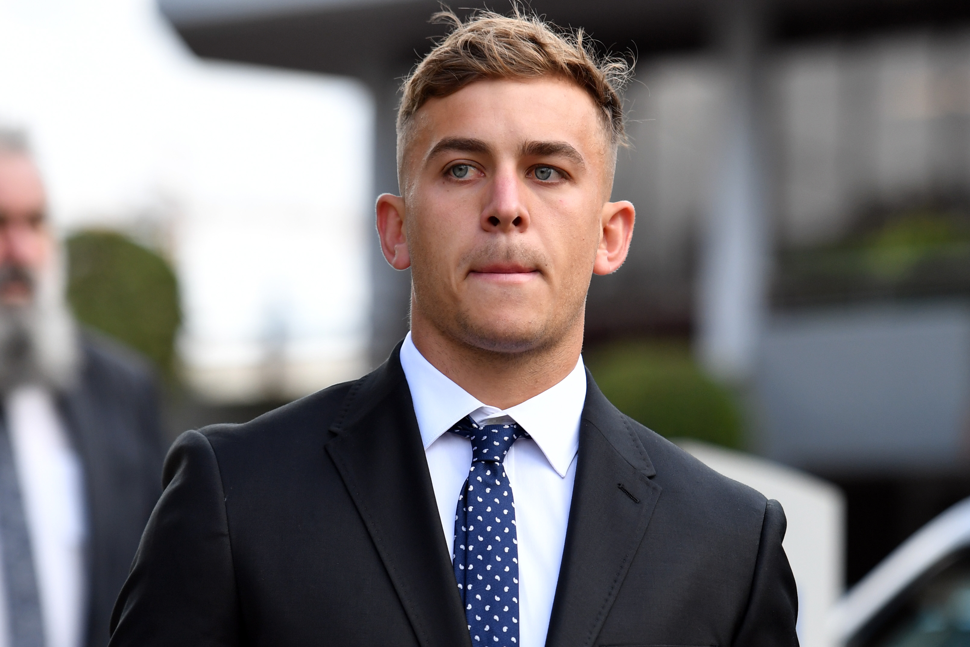 Shellharbour player Callan Sinclair arrives at Wollongong Local Court, Monday, 2 November 2020. Sinclair and St George Dragons player Jack De Belin are due to begin a two-week trial on February 3 over allegations the pair sexually assaulted a 19-year-old woman in a Wollongong apartment in December 2018. Photo: Sam Mooy/The Sydney Morning Herald