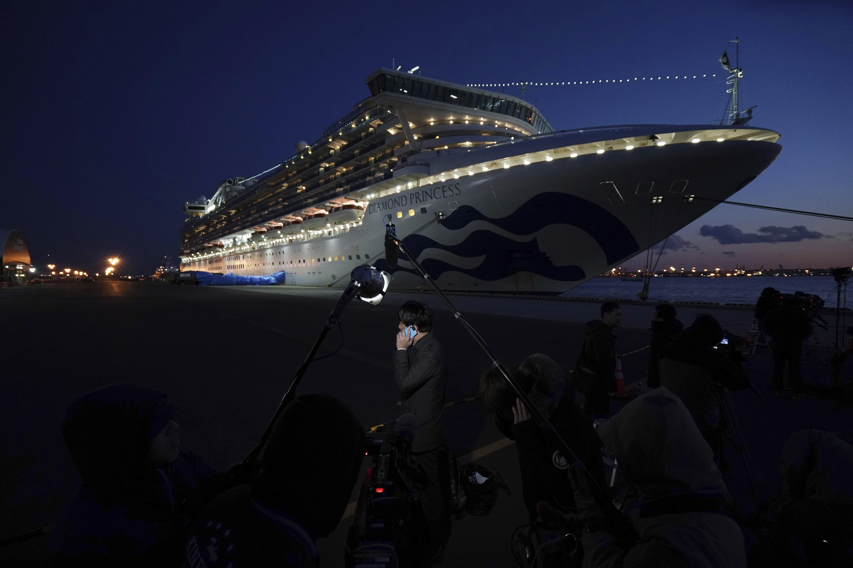 Diamond Princess cruise ship sitting at the Yokohama Port, Yokohama, Japan.