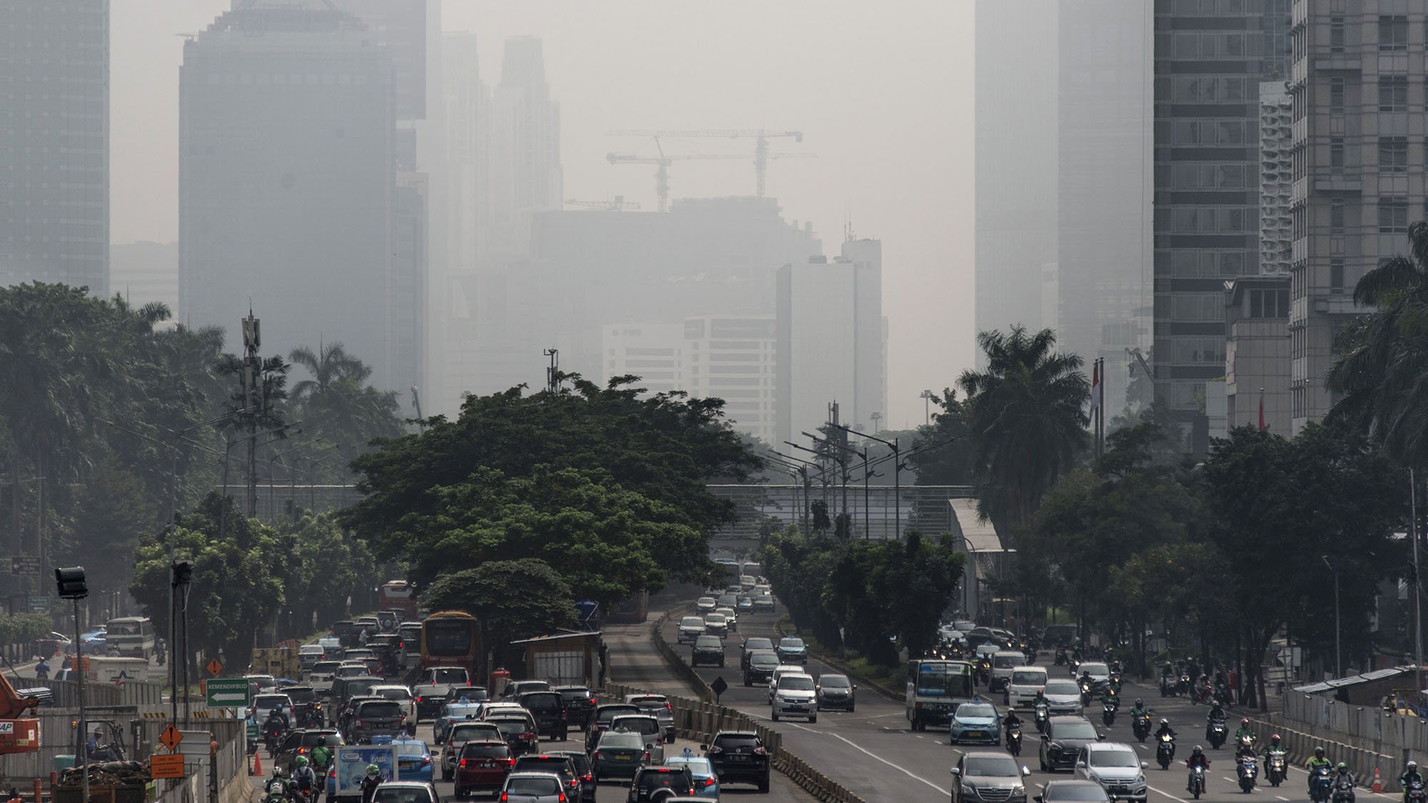 Buildings in downtown Jakarta are shrouded in a thick haze made worse by fires burning in rural provinces around the region.