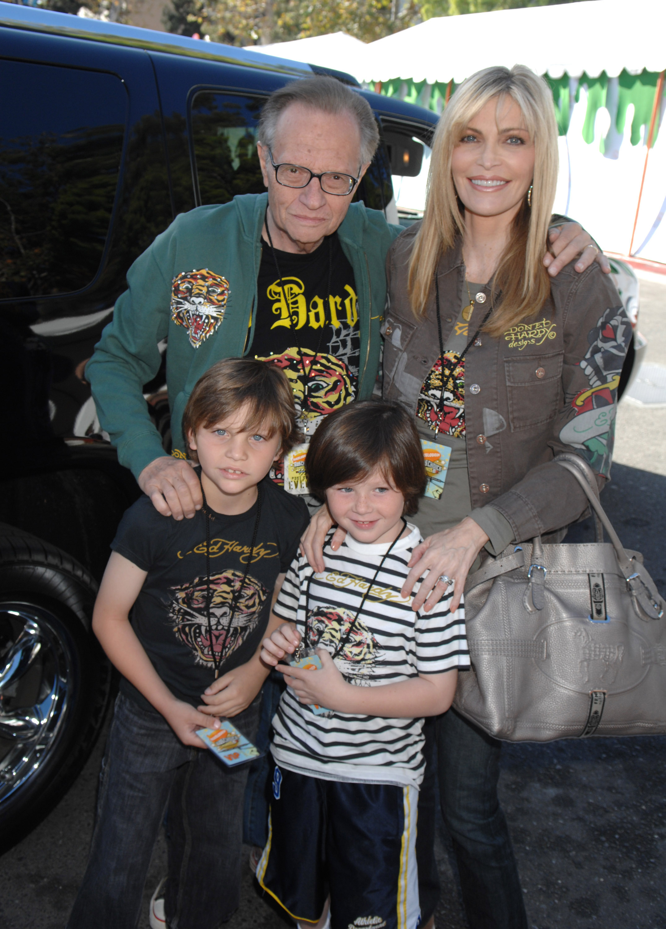 Larry King, wife Shawn Southwick King and children Chance Armstrong King and Cannon Edward King in 2007.