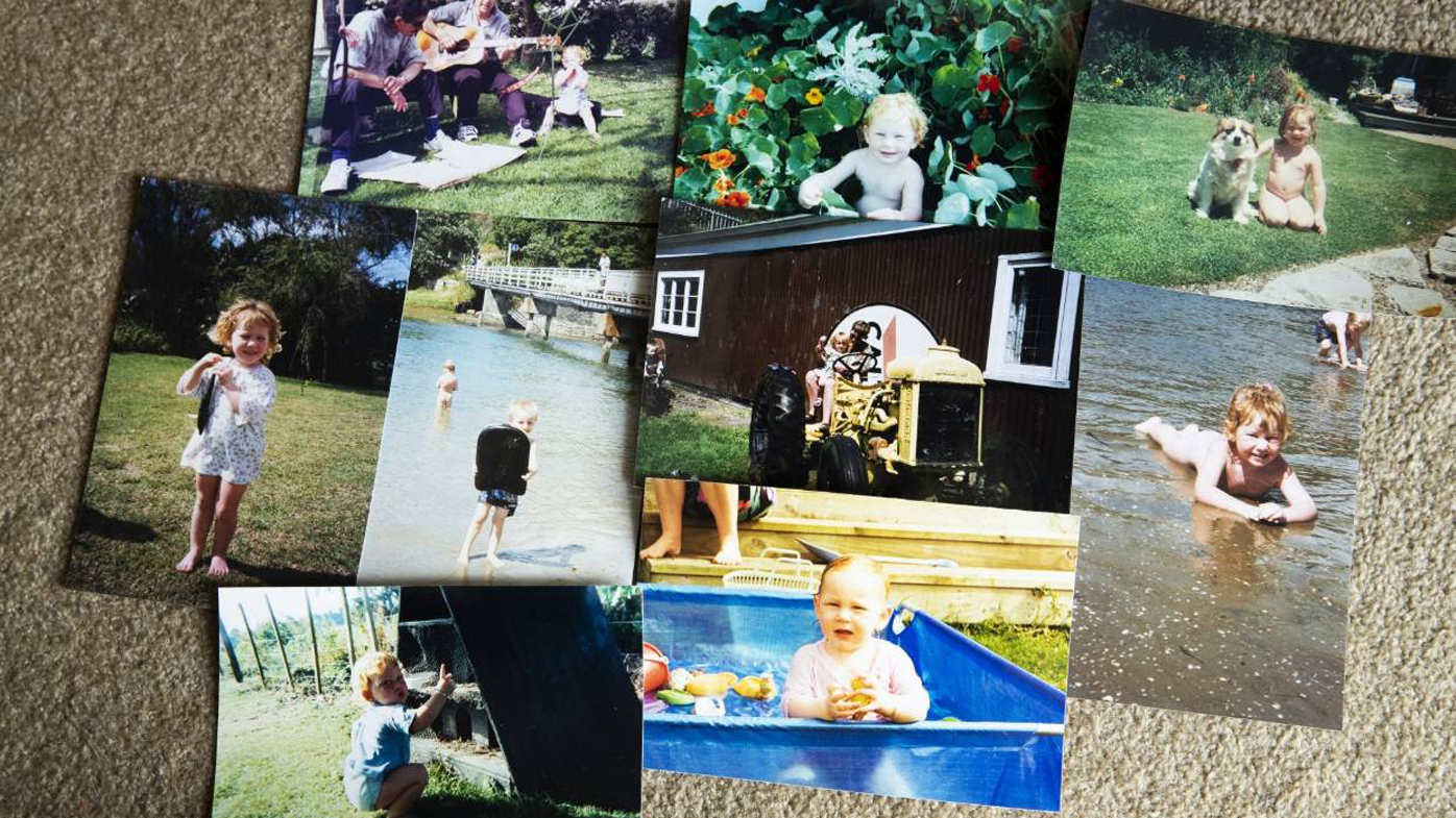 Childhood photos of Ms Bayly in the sun with no hat on. Sunburn was a common childhood event, she says.