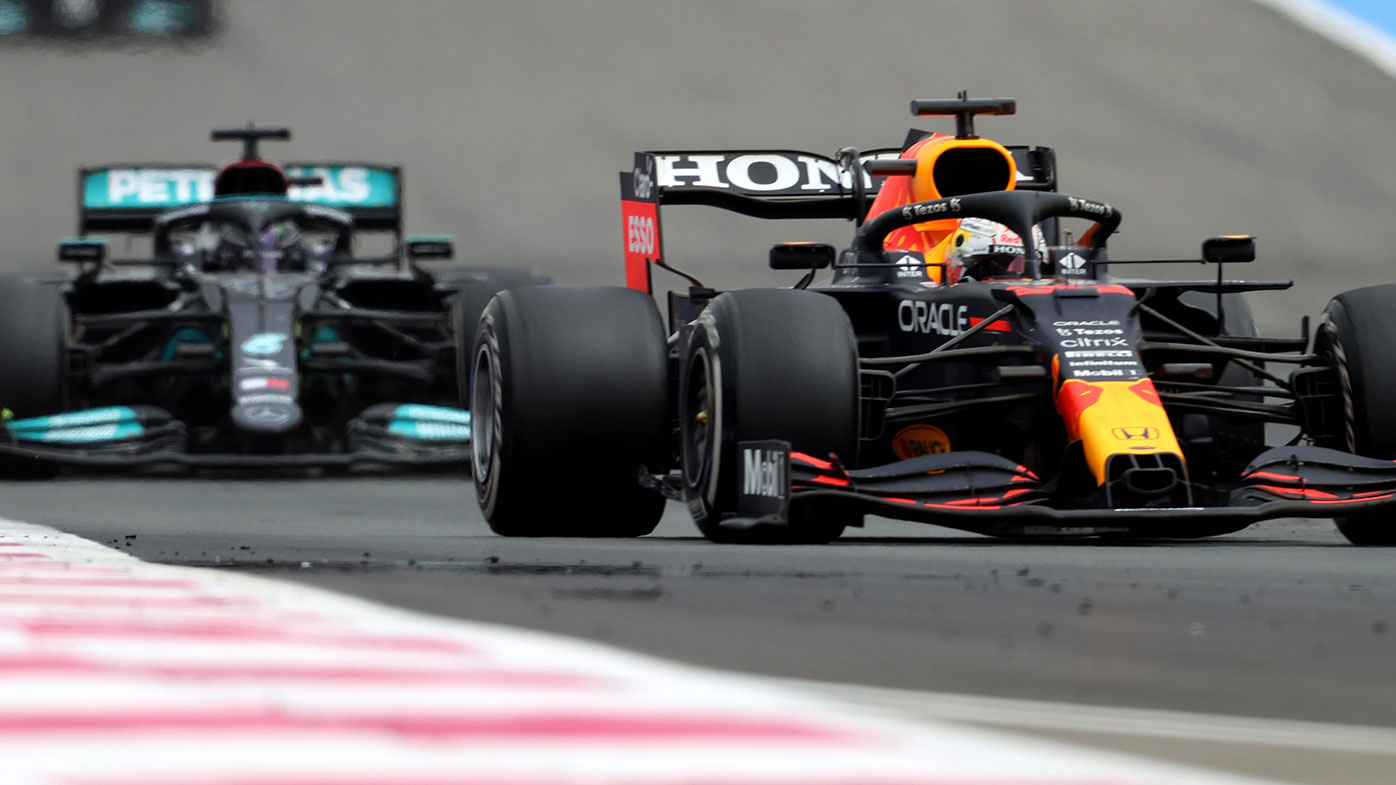 Max Verstappen leads Lewis Hamilton at the French Grand Prix.
