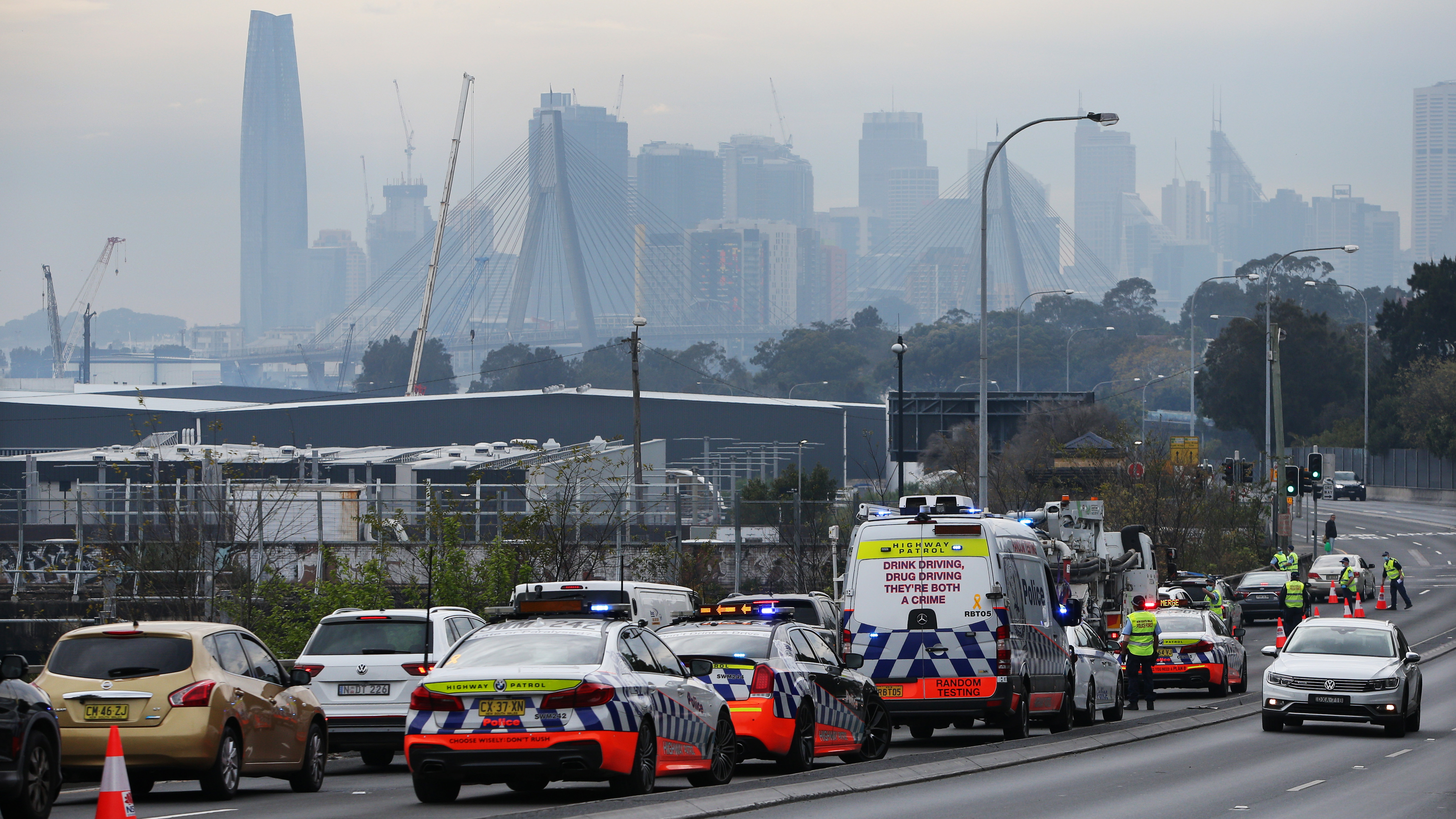 NSW Police perform roadside checks along the City West Link at Lilyfield, Sydney.
