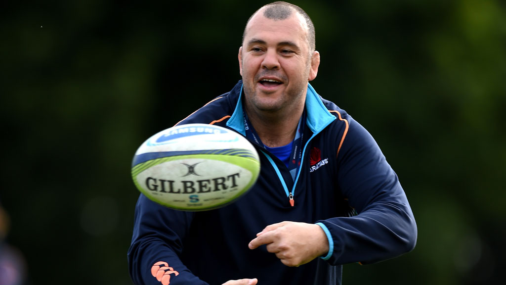 Waratahs coach Michael Cheika takes part in a training session in July. (AAP)
