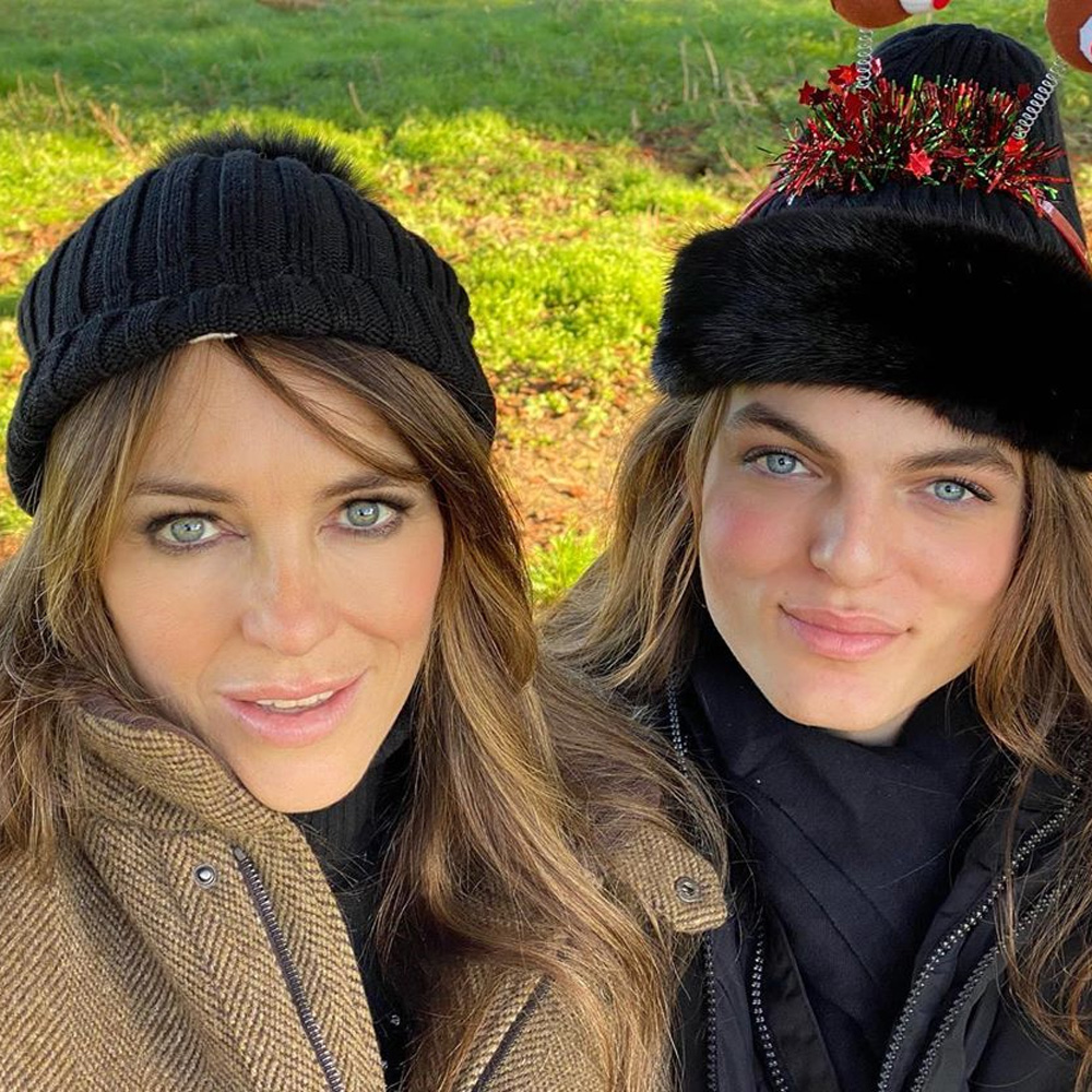 Elizabeth Hurley, Damian Hurley, selfies, Christmas, lookalike, son, mother